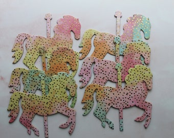6 Pastel Carousel HORSE decorations  || Carousel Theme Party || Pink-orange-green-yellow w/gold || Chipboard Horse or Table Scatter die cuts