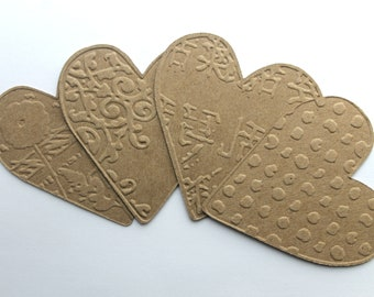 {4} EMBOSSED HEART CROWN Vintage Hearts Bare Chipboard Die Cuts 2 3//8  x 4 1//2