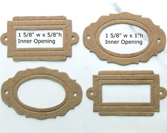 Style 2 Embellishments {4}  MINI LABELS -  Bare Chipboard Die Cuts