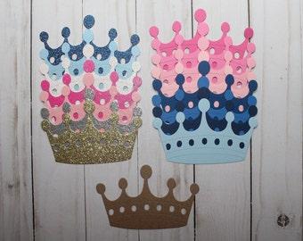 "Glittered or Plain Fancy Crown die cuts 4 1/2' w x 2 7/8"" tall [plain or sticker]"