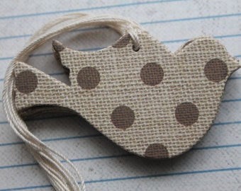 26 Bird shaped Tags Burlap with polka Dot patterned paper over chipboard with string attached