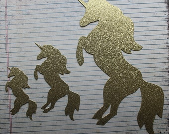 Glittered or Plain Unicorn Die Cuts [small, large, x-large....stickers or plain backing]