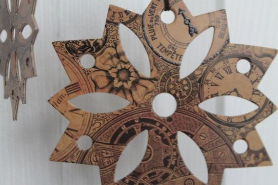 16 Steampunk Christmas Paper Cutouts Garland