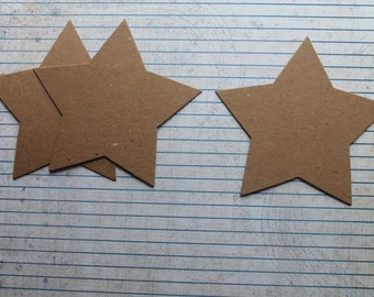 3  Star shaped Chipboard Die cuts 4 1/8 inches wide