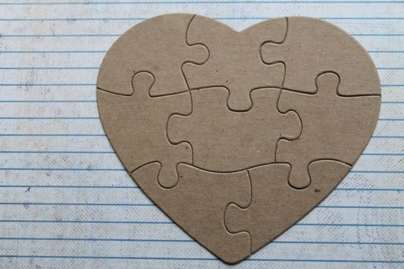 100 total 8 piece heart shaped jigsaw puzzle bare unfinished etsy