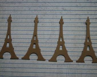4 bare chipboard die cuts small eiffel tower diecuts