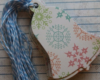 6 Bell shaped Gift Tags Pastel Snowflakes chipboard Christmas Hang Tags with Bakers Twine