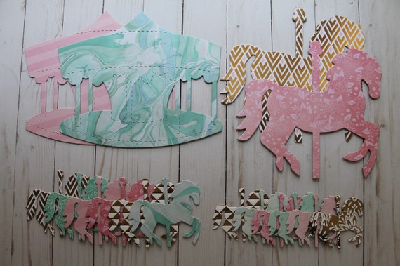 Carousel Party Decorations Pinks Gold Aqua Green Etsy