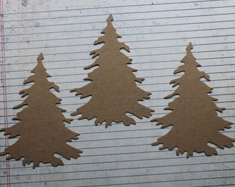 3 Bare chipboard die cuts Evergreen Fir Tree Diecuts 4 3/4 inches tall