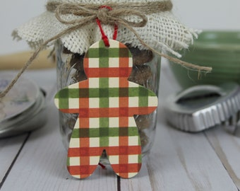 16 Glitter Gingham Christmas tags | Gingerbread man tags | Red,green, cream glittered gingham | Paper+chipboard