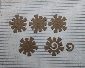 5 Bare/Raw chipboard Sun Shaped Die cuts 1 7/8 inches x 1 7/8 inches