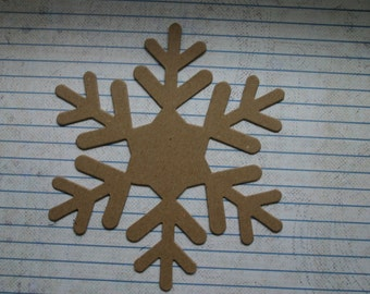 "3 Bare chipboard die cuts Large Snowflake Style no.7 measuring 4 7/8"" across"