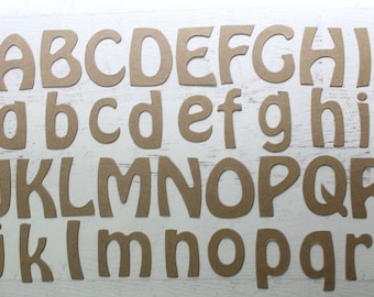 """2"""" Chipboard Alphabet - Curve uppercase or lowercase bare chipboard alphabet [choose 26 or 52]"""