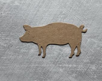 "4 Bare chipboard Pigs || Pork Pig Die Cuts 3"" w"