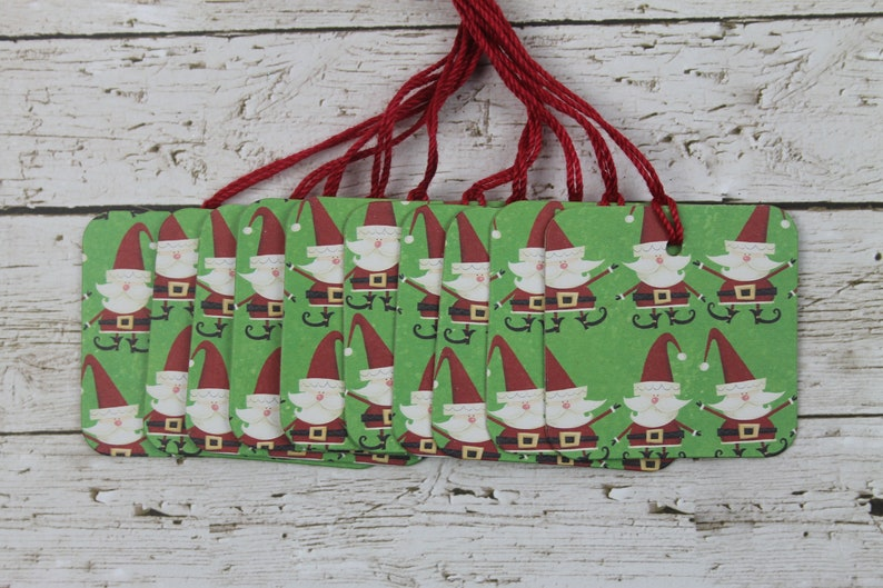 20 Christmas tags elf-gnome like Santa paper covered chipboard tags...2 x 2 inches