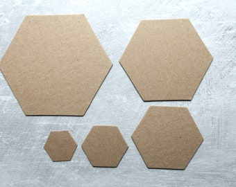 HEXAGONS Bare Chipboard Die cuts [choose 3/4 inch, 1 inch, 1 1/2 inch, 2 inch, 2 1/2 inch sides]