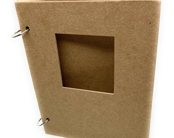 """5 3/4"""" x 7"""" Chipboard Album-Blank Scrapbook-Bare Journal-[choose square cutout or plain, choose thickness]"""