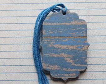 19 Scallop/Bracket style Gift tags weathered blue/brown wood patterned paper over chipboard 3 inches tall