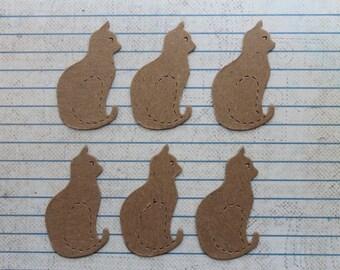 6 Bare chipboard die cuts Small sitting kitty cat diecuts