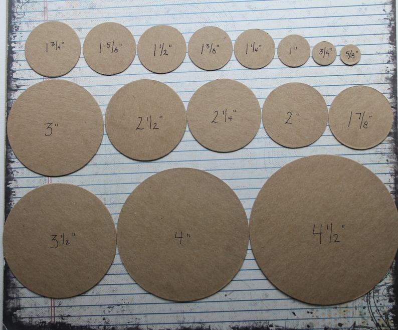 50 cardboard circles die cuts blank chipboard/cardboard [choose from 3/4