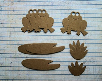 3 Bare chipboard die cuts frog with lilypad diecuts