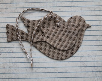 Bird shaped Tags Burlap patterned paper over chipboard with string attached [small or large birds]