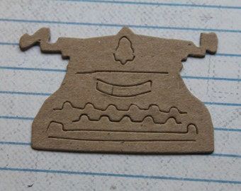 4 Unfinished chipboard die cuts small Typewriter 2 3/8 inches w x 1 1/2 inches tall