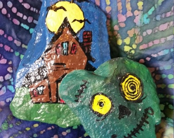Haunted House and Zombie Painted Rocks
