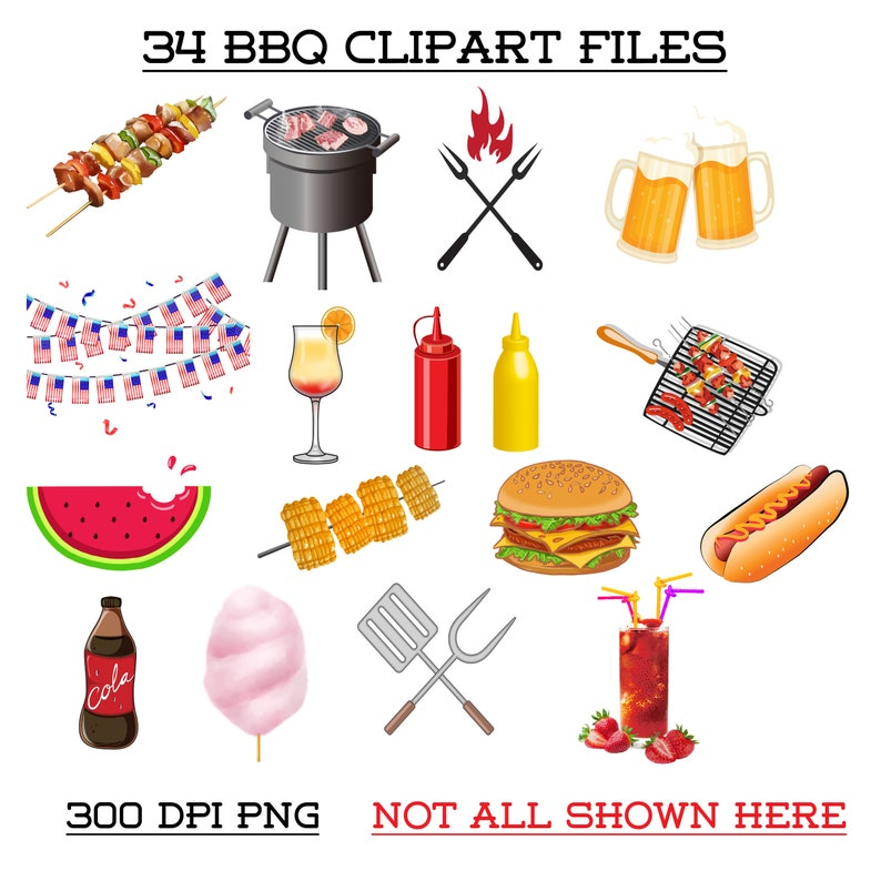 Summer BBQ Fourth of July Celebration Invitations Clip Art Scrapbooking Independence Day Digital Download Hot Dogs Hamburger Soda Ketchup