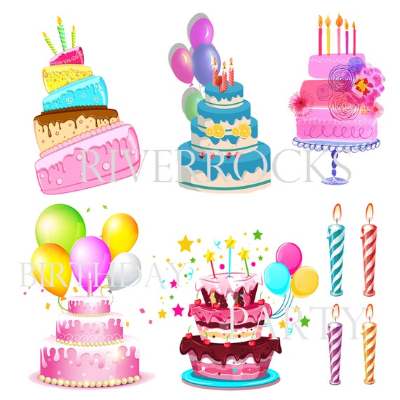 Stupendous Birthday Cakes And Candles Digital Clipart Colorful Balloons Etsy Funny Birthday Cards Online Sheoxdamsfinfo
