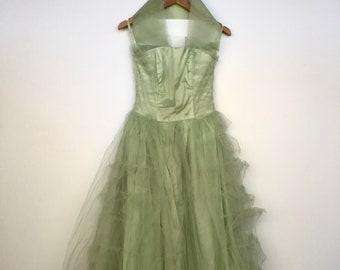 Vintage 1950's Light Green tulle Prom dress