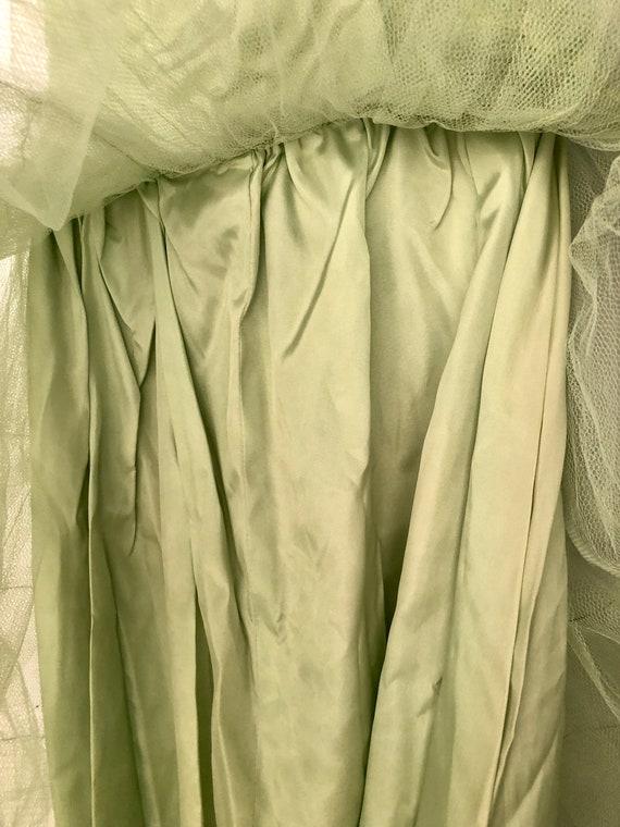 Vintage 1950's Light Green tulle Prom dress - image 5