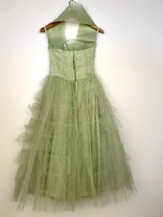 Vintage 1950's Light Green tulle Prom dress - image 3