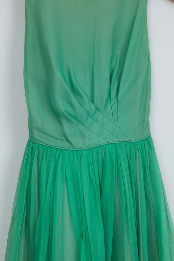 Vintage Green Chiffon 1950's Party Dress - image 2