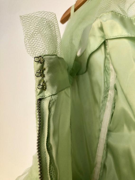 Vintage 1950's Light Green tulle Prom dress - image 6