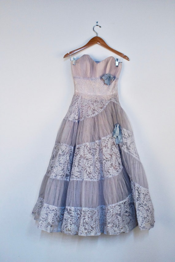 Steel Blue Sweetheart Strapless Dress 1950's