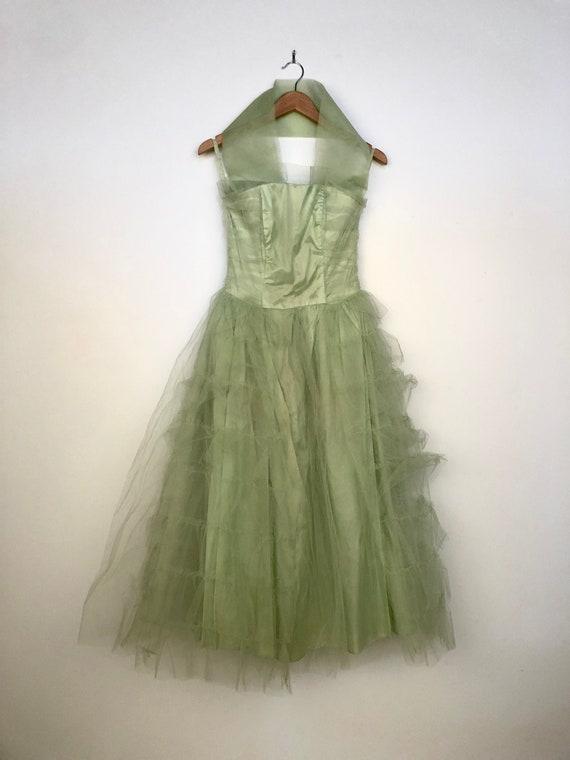 Vintage 1950's Light Green tulle Prom dress - image 1