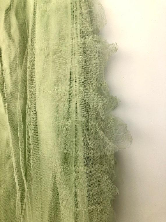 Vintage 1950's Light Green tulle Prom dress - image 4