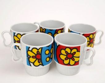Vintage 60's Groovy Floral Coffee Mug Set of 5