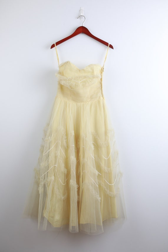1950's Pastel Yellow Cocktail Dress
