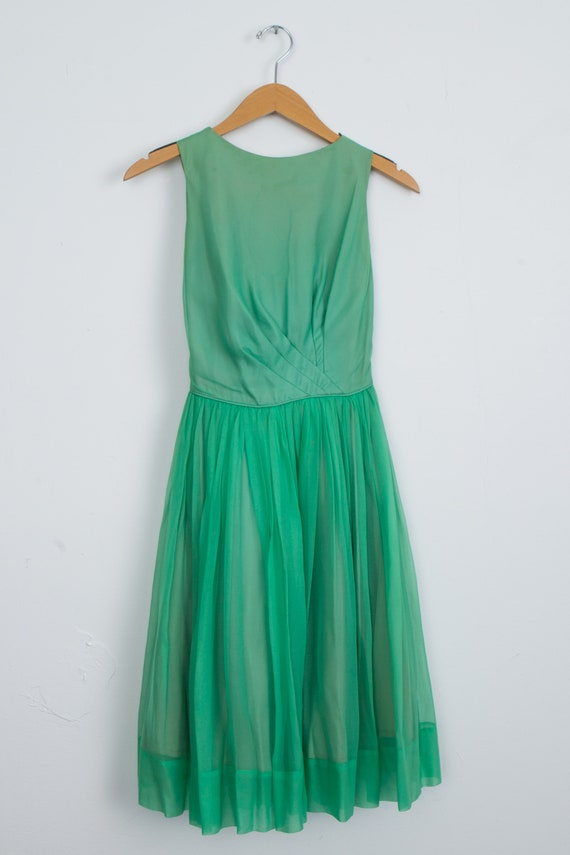 Vintage Green Chiffon 1950's Party Dress