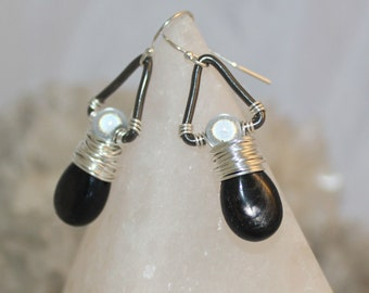 Black Gemstone Teardrop Earrings Wire Wrapped White Miracle Moon Bead Triangle Hypersthene Tribal Space Celestial Collection Shimmer Shimmer