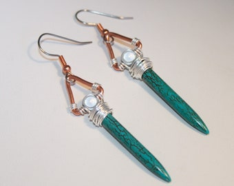 Turquoise Magnesite Sword Earrings Wire Wrapped Copper Triangle Miracle Moon Geometric Tribal Space Celestial Collection by Shimmer Shimmer