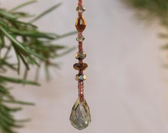 Crystal Ornament Sun Catcher Prism Window Copper Green Crystal Shimmer Shimmer