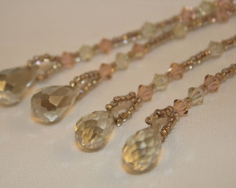 Sun Catcher Prism Crystal Window Ornament Peach Clear Crystal Shimmer Shimmer