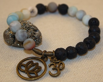 Aromatherapy Woman's Stretch Bracelet Gemstone Black Lava Rock Blue Amazonite OM Lotus Flower Charms Shimmer Shimmer
