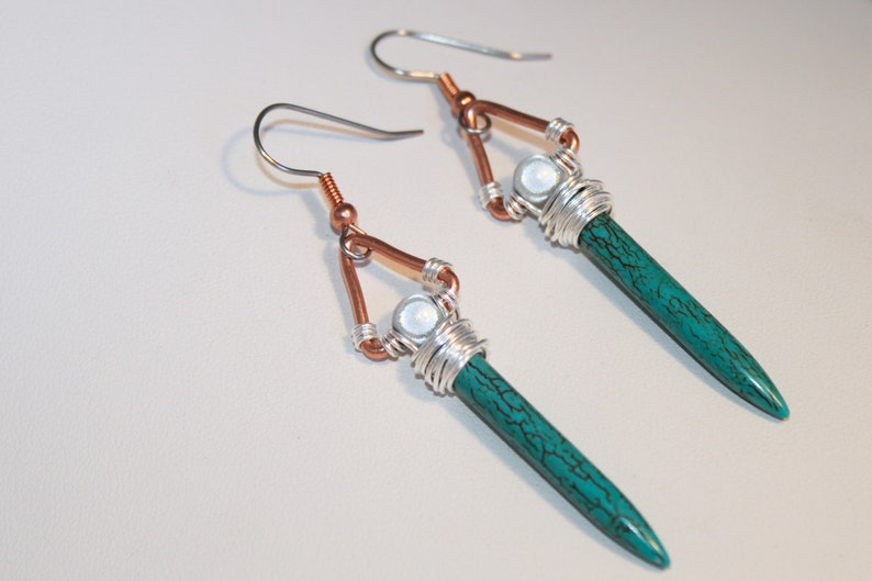 Turquoise Magnesite Sword Earrings Wire Wrapped Copper image 0