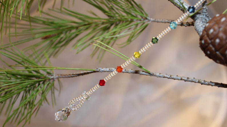 Rainbow Chakra Sun Catcher Swarovski Crystal Ornament image 0
