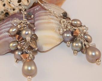 Pearl Dangle Earrings Crystal Earrings Swarovski Austrian Crystal Freshwater Pearls Sterling Silver Shimmer Shimmer