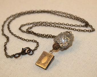 Locket Necklace Raw Crystal Pyrite Pendant Long Chain Book Charm Brass Shimmer Shimmer